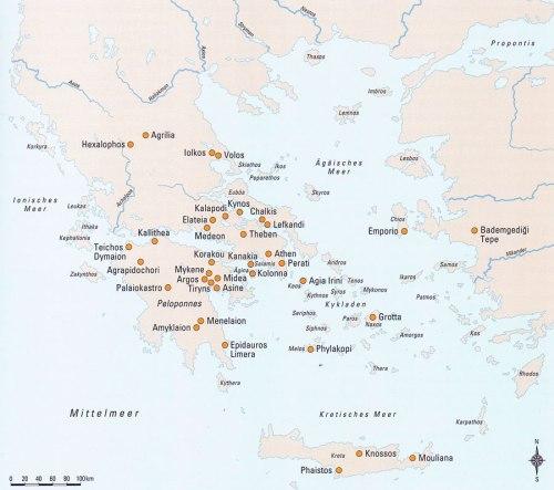 Εικ. 3: Χάρτης με τις κύριες ΥΕ θέσεις στον Αιγαιακό χώρο (κατά: Badisches Landesmuseum Karlsruhe  2008, 59).
