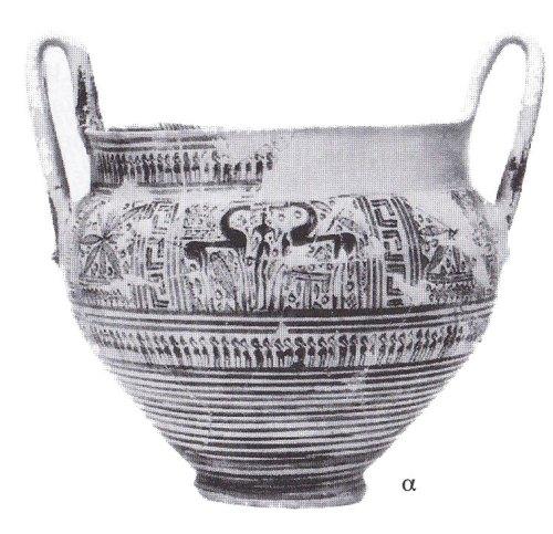 Εικ. 27: ΥΓ κάνθαρος από το Άργος, με παράσταση πεζού ιππηλάτη εν μέσω αντωπών ίππων. Αρχαιολογικό Μουσείο Άργους, αρ. ευρ. C1. Ύ.: 0.31 μ. (κατά: Coldstream 1977, 192 εικ. 46α).