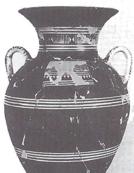 Εικ. 19: Πρώιμος Γεωμετρικός Αμφορέας από τον Κεραμεικό  (Κατά: Σημαντώνη-Μπουρνιά 1997, 85 εικ. 49).