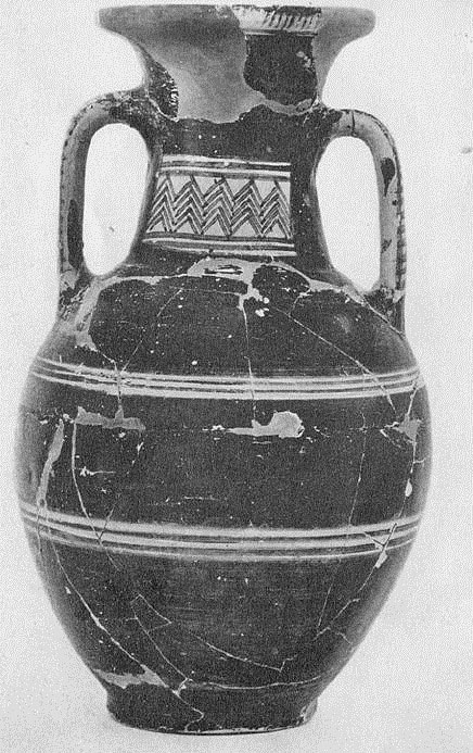 Εικ.18: Πρώιμος Γεωμετρικός Αμφορέας από το Άργος (Κατά: Courbin 1966 εικ. Ια).