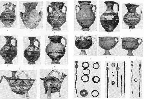 Εικ. 16: Ευρήματα από τις ΠΓ ταφές, στην οδό Περρούκα 66 (κατά: Κόκκου-Βυριδή 1979 πίν. 54 κ. εξ.).