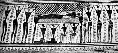 Εικ. 24: Σκηνή προθέσεως, από τον λεγόμενο «αμφορέα του Διπύλου» Εθνικό Αρχαιολογικό Μουσείο, Αθήνα. Αρ. ευρ.: 804 (κατά: Demargne 1965, 291 εικ. 378).