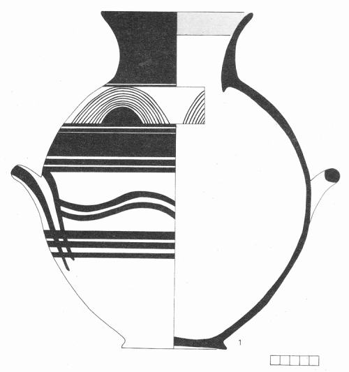Εικ. 7: Επιγάστριος αμφορέας υπομυκηναϊκών χρόνων, από τον Κεραμεικό. (κατά: Mountjoy 1994, 204 εικ. 259).