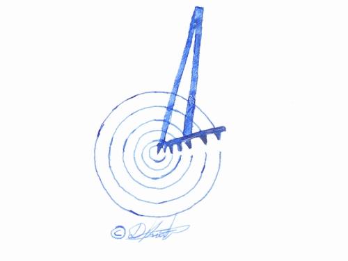 Εικ. 11: Χρήση διαβήτη με πολλαπλό πινέλο, στην διακόσμηση Γεωμετρικού αγγείου (Σχέδιο: Δημ. Αθ. Κούσουλας, 2014).
