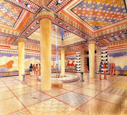 Εικ.1: Ζωγραφική αναπαράσταση της αίθουσας του θρόνου, στο ανάκτορο της Πύλου (κατά: Kruse 1999, 69 εικ. 5).