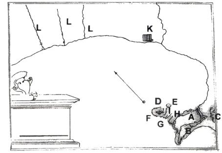 Εικ. 4. Κόλπος Ναυπλίου. Σχέδιο του λιμανιού του Ναυπλίου Συλλογή Grimani, πίν. XIX, Γεννάδειος Βιβλιοθήκη - Αθήνα.