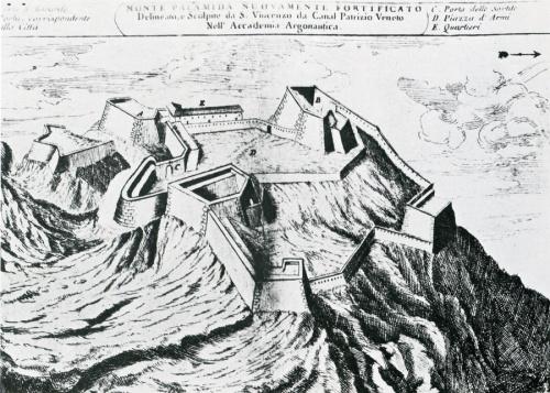 Το κάστρο του Παλαμηδίου. Χαλκογραφία του S.V.da Canal. Αρχές του 18ου αιώνα.