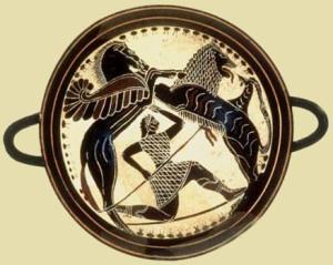 Ο Βελλερεφόντης με τη βοήθεια του Πήγασου σκοτώνει τη Χίμαιρα, λίθινο δισκίο του 560 π.χ περίπου, Λακωνία. Επιλογή φωτογραφίας: Αργολική Βιβλιοθήκη.