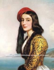 Αικατερίνη Μπότσαρη, κυρία επί των τιμών της βασίλισσας Αμαλίας. Έργο του  ζωγράφου της βαυαρικής Αυλής Joseph Karl Stieler (Γιόζεφ Καρλ Στίλερ). Ανάκτορο Νύμφενμπουργκ του Μονάχου.