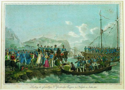 Αποβίβαση του Όθωνα στο Ναύπλιο το 1833 - Λιθογραφία του Gustav Kraus
