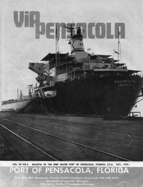 Το πλοίο «AQUA FAITH» του καπετάν Παναγιώτη Φίλη στο εξώφυλλο του περιοδικού Via Pensacola.