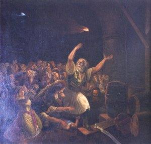 Η ανατίναξη από τον Χρήστο Καψάλη. Έργο του Θεόδωρου Βρυζάκη. Πινακοθήκη Δήμου Μεσολογγίου.