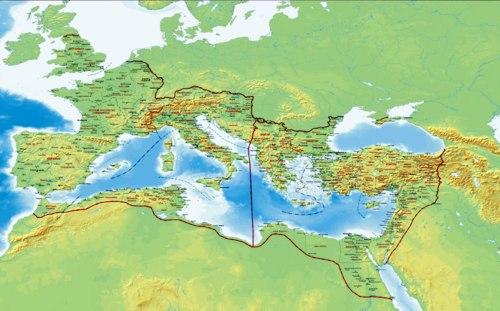 Ο Θεοδόσιος (395 μ.Χ.) διαιρεί τη Ρωμαϊκή Αυτοκρατορία σε Ανατολική, με πρωτεύουσα την Κωνσταντινούπολη, και Δυτική, με πρωτεύουσα την Ρώμη. Ακολουθεί η μεγάλη μετανάστευση των Λαών.