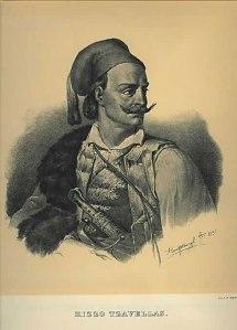 Κυριάκος «Κίτσος» Τζαβέλας (1800-1855), λιθογραφία, Karl Krazeisen.