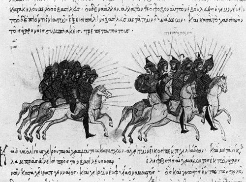 Τα βυζαντινά στρατεύματα διώκουν τους άραβες, μικρογραφία του Ιωάννη Σκυλίτζη, β' μισό του 13ου αιώνα. Biblioteca Nacional de España.