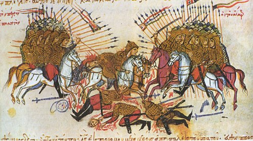 Η Μάχη μεταξύ αράβων και βυζαντινών στον ποταμό Λαλακάοντα το 863, μικρογραφία από τη «Χρονογραφία» του Ιωάννη Σκυλίτζη, β' μισό του 13ου αιώνα. Biblioteca Nacional de España.