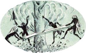 Οι καλικάντζαροι πριονίζουν το δένδρο της γης. Εικόνα από το Αναγνωστικό της Δ' Δημοτικού, έκδοση ΟΕΔΒ, 1961.