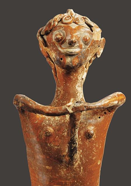 Ανθρωπόμορφο είδωλο (1250-1180 π.Χ.), κοσμεί το εξώφυλλο της έκδοσης.