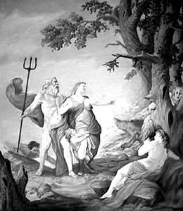 Ποσειδώνας και Αμυμώνη. Μινιατούρα του Blaise de Vigenere (1637), τοιχογραφία του θεάτρου Tahqua Land στο Μίσιγκαν.