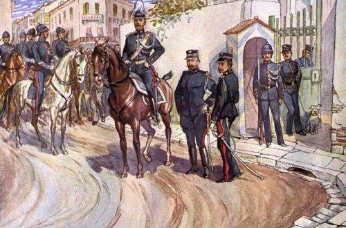 Χωροφυλακή, αρχές 20ου αιώνα. Έργο του Κερκυραίου ζωγράφου Πάνου Αραβαντινού (1886-1930). Καρτ ποστάλ, Εκδ. Αφών Γ. Ασπιώτη, Κέρκυρα, περίπου το 1910.