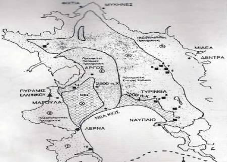 Στην παραπάνω εικόνα αποτυπώνεται η ανασύσταση της περιοχής του Άργους σε διάφορες περιόδους. (Λυριτζής, Ραυτοπούλου, 1998).