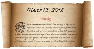 bfd101ef56be 13 Μαρτίου 2018 είναι η 72η ημέρα του έτους 2018 στο Γρηγοριανό ημερολόγιο.  Η επόμενη Τρίτη 13 Μαρτίου είναι το 2029