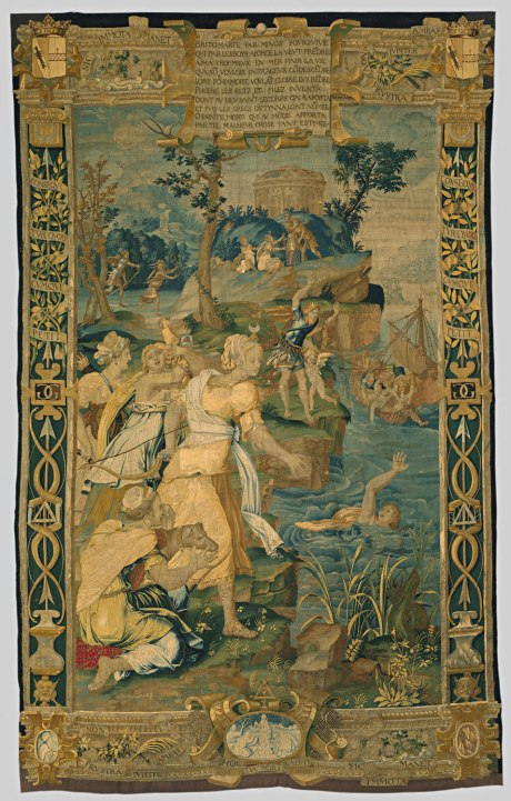 "The Drowning of Britomartis, probably design by Jean Cousin the Elder, tapestry. This tapestry is from a set depicting scenes from the story of Diana probably made for the château of Anet, about forty miles west of Paris, which was the chief residence of Henry II's mistress, Diane de Poitiers. She herself, born in 1499, was named after the goddess, a sign that the Renaissance, with its emulation of classical antiquity, had come to France. The inscription in French verse on the upper border of the tapestry tells the story depicted: Britomartis, pursued by Minos, who wished to take her by force in the woods, greatly preferred to end her life in the sea rather than submit to his outrageous will. Accordingly, wishing to give her fame for her death, Phoebe [Diana] invested fishnets and snares, with which the body was brought to a holy place, and since then the Greeks have called her Dictynna [""fishnet""]. O holy death, that gave such a valuable thing to the world by means of such a misfortune! Diana stands in the center of the tapestry, a crescent on a support above her forehead. To the right, the drowning Britomartis raises one hand above the water. In the middle distance, Minos, king of Crete, stands looking into the water with his arms raised in astonishment, while Britomartis' body is being fished out of the water to the right. In the left background we see Minos pursuing Britomartis, and farther back, to the right, Diana hands a net to two men. The version of the story shown here is not precisely that found in the writings of any classical author, and the invention of the net by Diana does not seem to be a classical idea at all. It is here in order to glorify Diane de Poitiers, who is portrayed in the guise of the goddess. The borders of the tapestry are marked by the Greek character delta and other symbols of Diane. (The Metropolitan Museum of Art)"