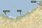 Χάρτης που επισημάνει τη Ριζούντα, την Τραπεζούντα και τοΒατούμ.